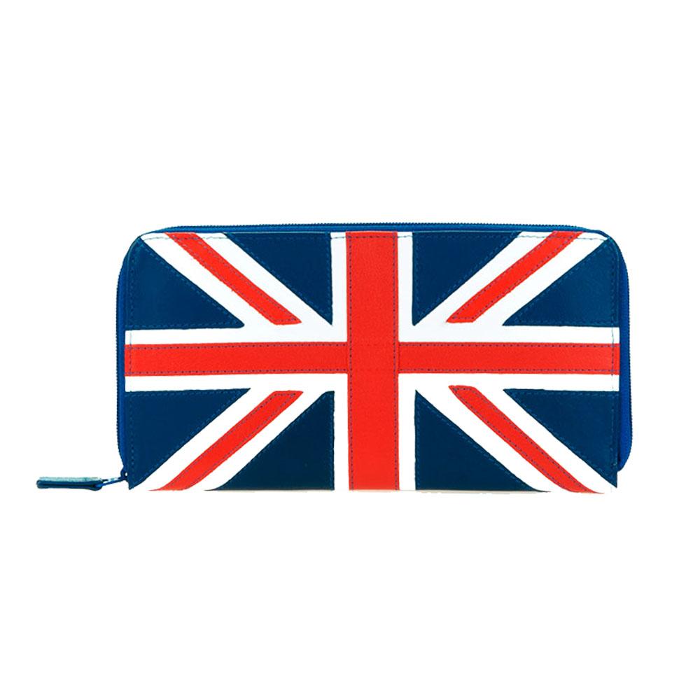 義大利 mywalit 繽紛配色真皮革 拼色小牛皮拉鍊長夾 -英國國旗