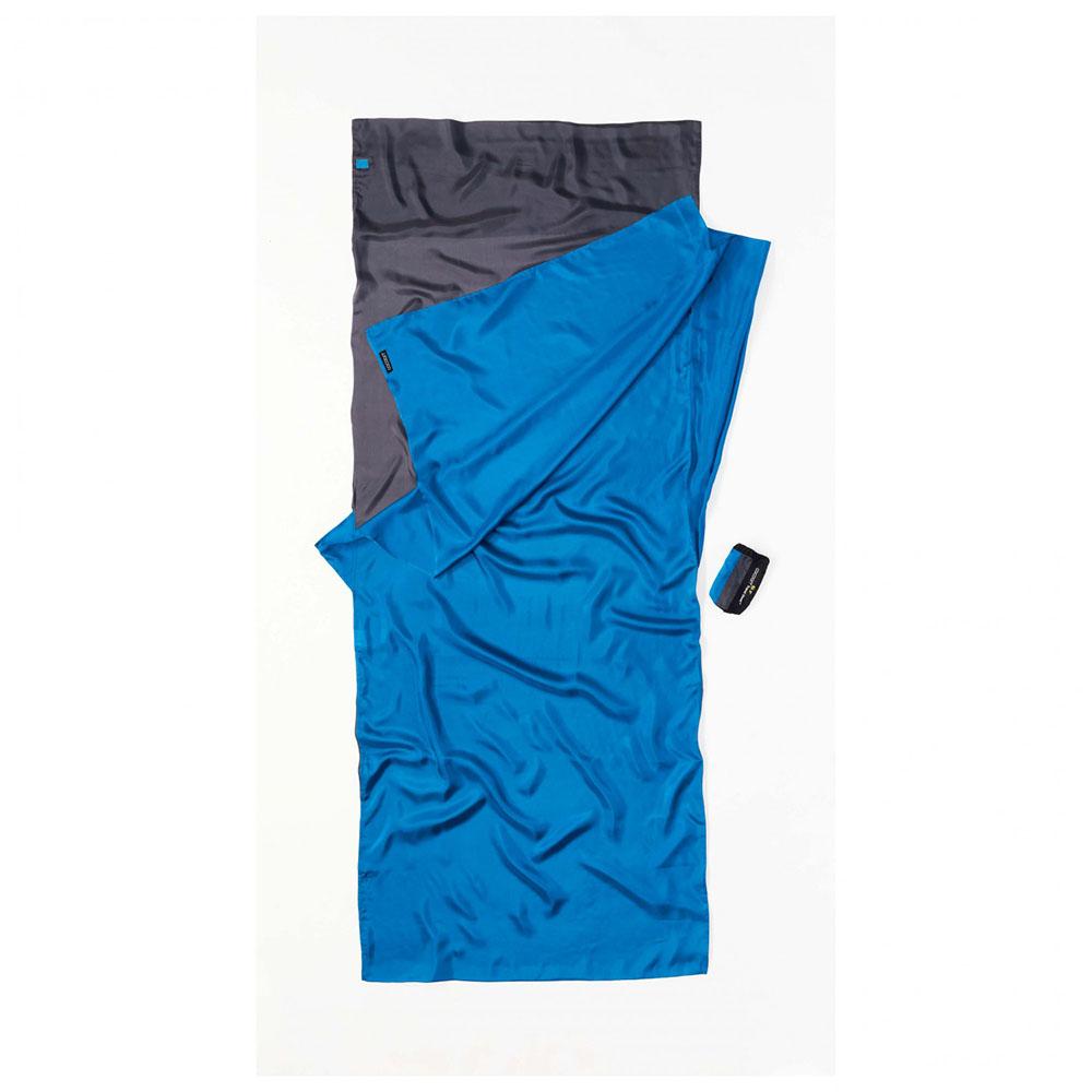 奧地利 COCOON|輕巧親膚 100%純絲 旅用床單 / 睡袋內袋-灰X矢車菊藍