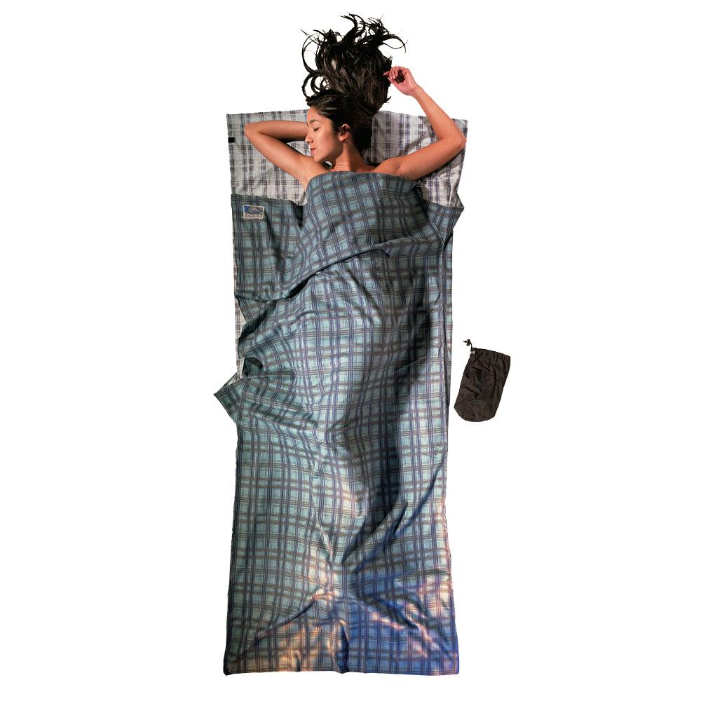 奧地利 COCOON 舒適睡眠 溫暖100%法蘭絨棉睡袋內袋/旅行床單-森林綠細格紋
