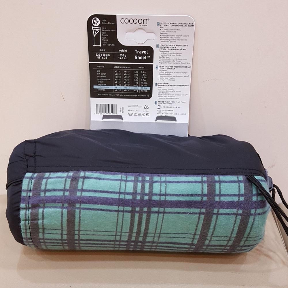 奧地利 COCOON|舒適睡眠 溫暖100%法蘭絨棉睡袋內袋/旅行床單-森林綠細格紋