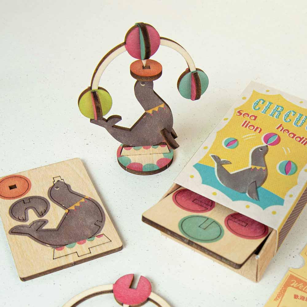 遊木時光 小盒國-可拼成童玩的拼圖(海獅頂球)