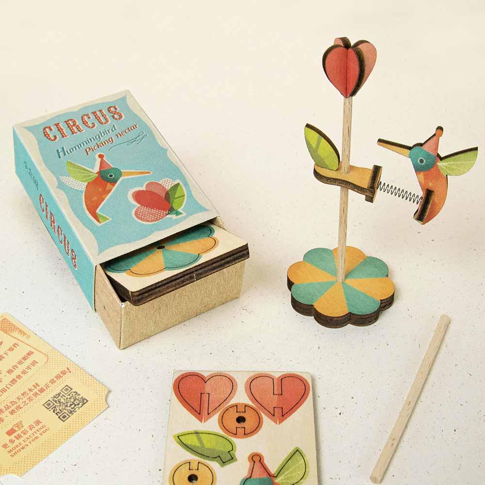 遊木時光 小盒國-可拼成童玩的拼圖(蜂鳥採花)