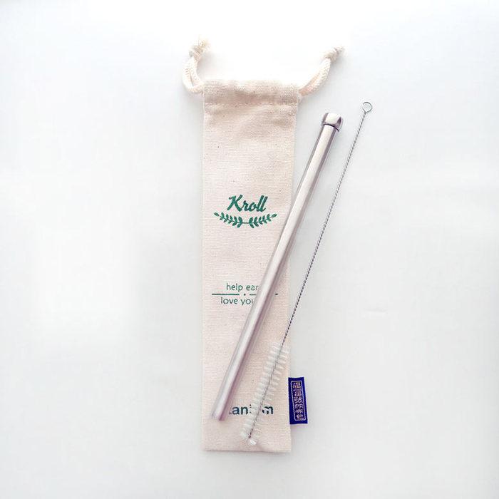 (複製)KROLL 純鈦大小吸管組 (大小吸管+清潔刷+束口袋)