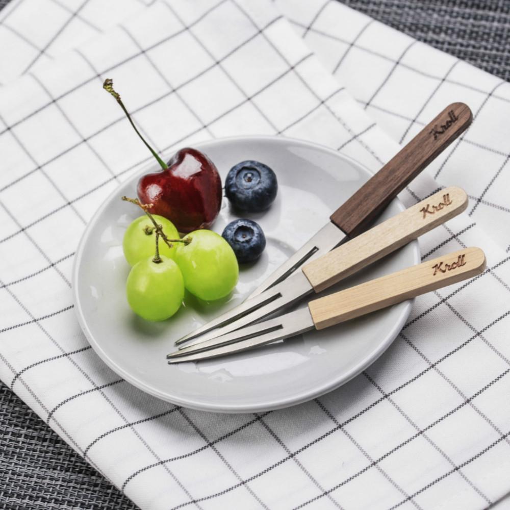 KROLL|純鈦家用木柄水果叉組(楓木、胡桃、檜木)