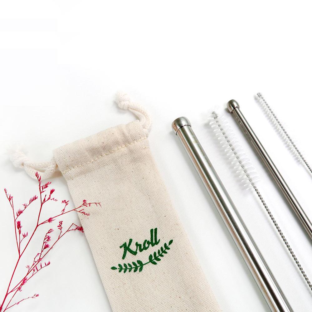 KROLL|純鈦大小吸管組 (大小吸管+清潔刷+束口袋)