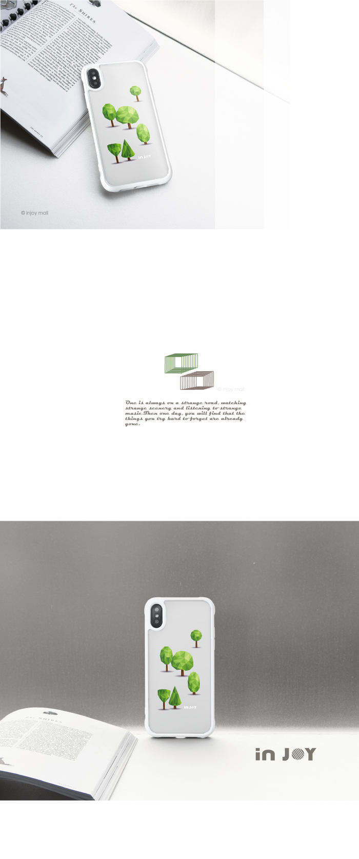 INJOY mall|iPhone 7 / 8 / Plus / X 森林系幾何文青 耐撞擊邊框手機殼 保護套