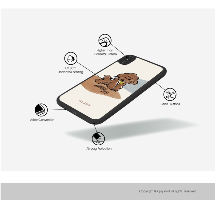INJOY mall|iPhone 7/8/Plus/X/XS/XR/max/11 pro/11 max 焦糖貴賓犬 耐撞擊磨砂邊框手機殼