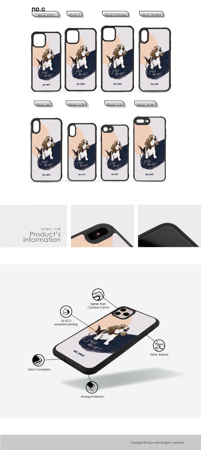 INJOY mall|iPhone 7/8/Plus/X/XS/XR/max/11 pro/11 max 開朗米格魯 耐撞擊磨砂邊框手機殼
