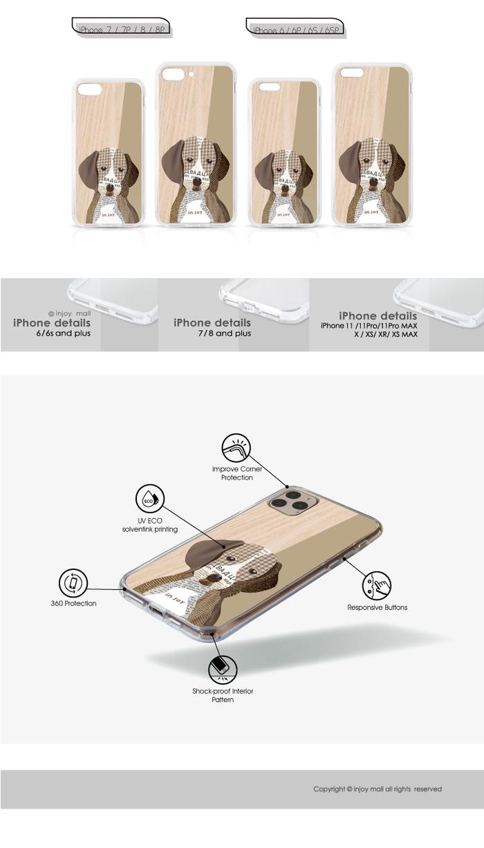 INJOY mall|iPhone 6/7/8/Plus/X/XS/XR/max 千鳥格拼貼米格魯 透明耐衝擊防摔手機殼