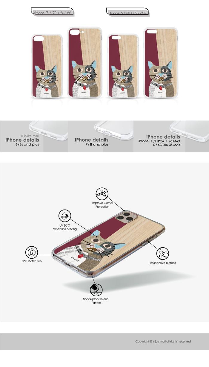 INJOY mall|iPhone 6/7/8/Plus/X/XS/XR/max 拼貼紅寶石圓眼貓 透明耐衝擊防摔手機殼