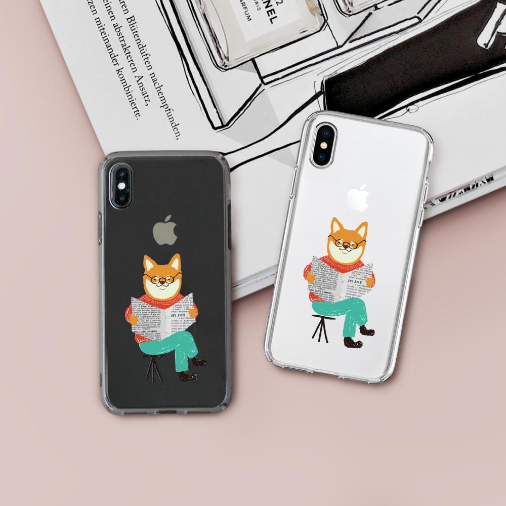 INJOY mall iPhone 6 / 7 / 8 / Plus / X 系列 插畫風俏皮柴柴透明 耐衝擊防摔手機殼