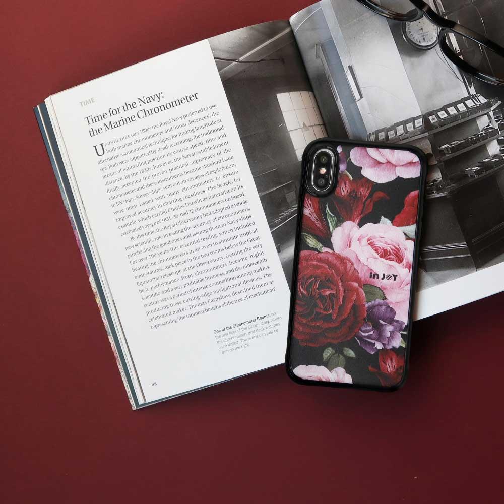 INJOY mall iPhone 7/8/Plus/XS/XR/max 優雅綻放玫瑰耐撞擊邊框手機殼