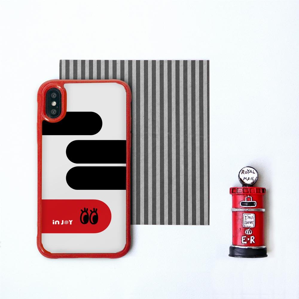 INJOY mall|iPhone 7/8/Plus/XS/XR/max 童趣簡約大眼耐撞擊邊框手機殼