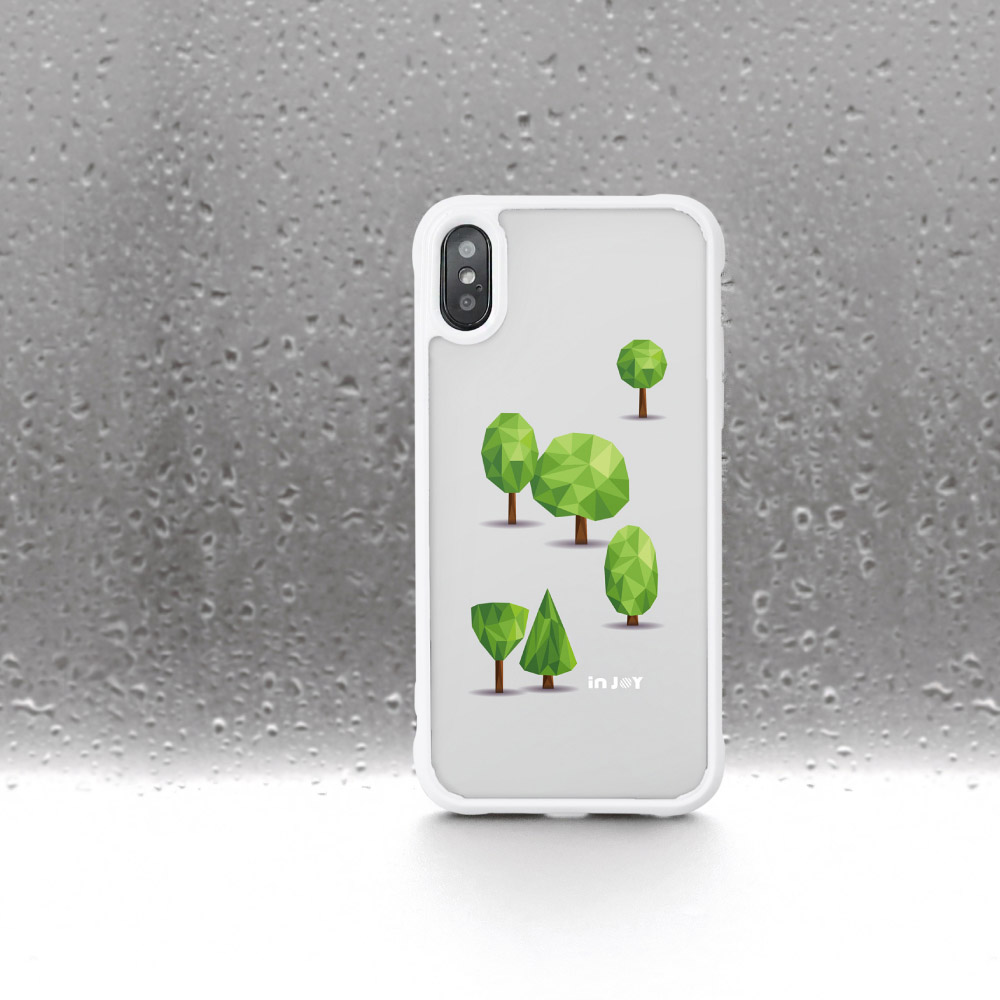 INJOY mall|iPhone 7/8/Plus/XS/XR/max 森林系幾何文青 耐撞擊邊框手機殼