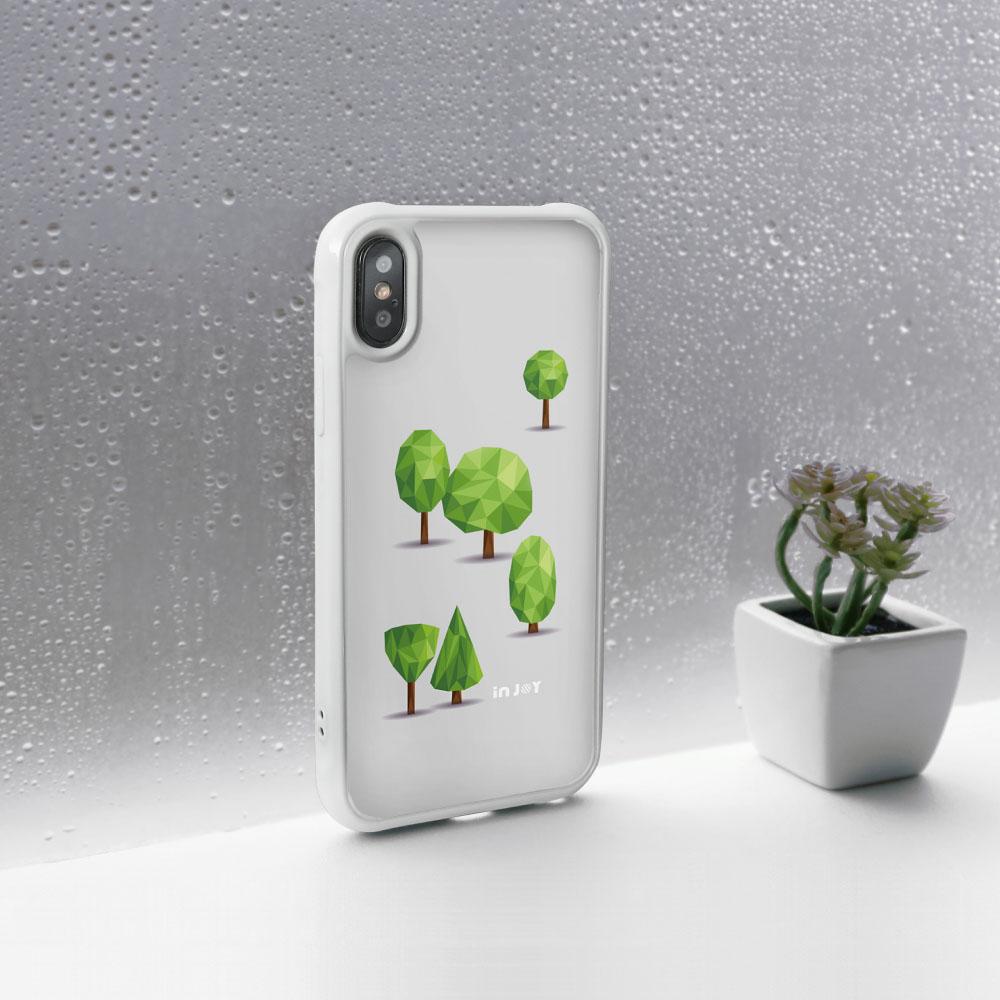 INJOY mall|iPhone 7 / 8 / Plus / X 森林系幾何文青 耐撞擊邊框手機殼