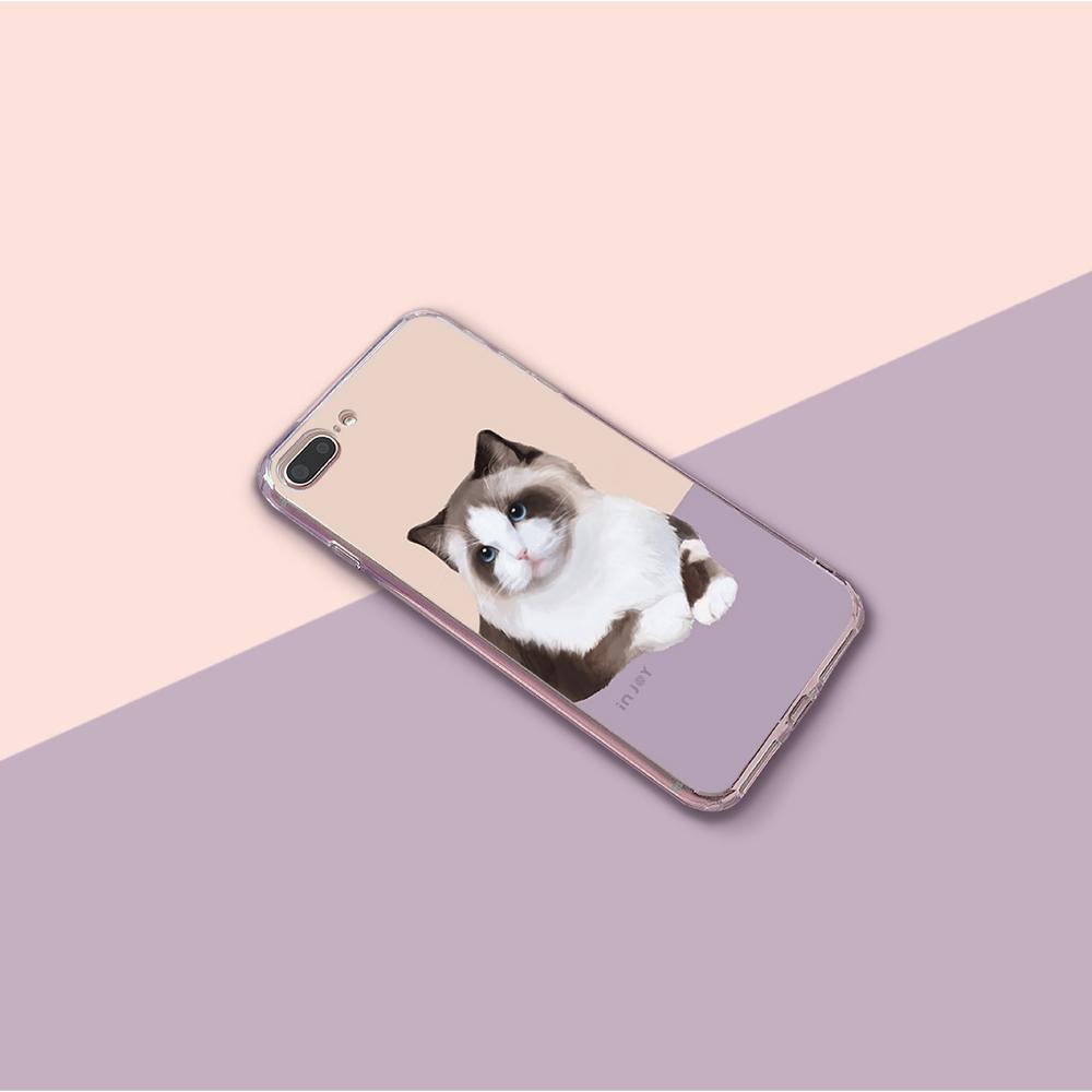 INJOY mall|iPhone 6 / 7 / 8 / Plus / X 系列 迷漾仙氣喵星人 透明耐衝擊防摔手機
