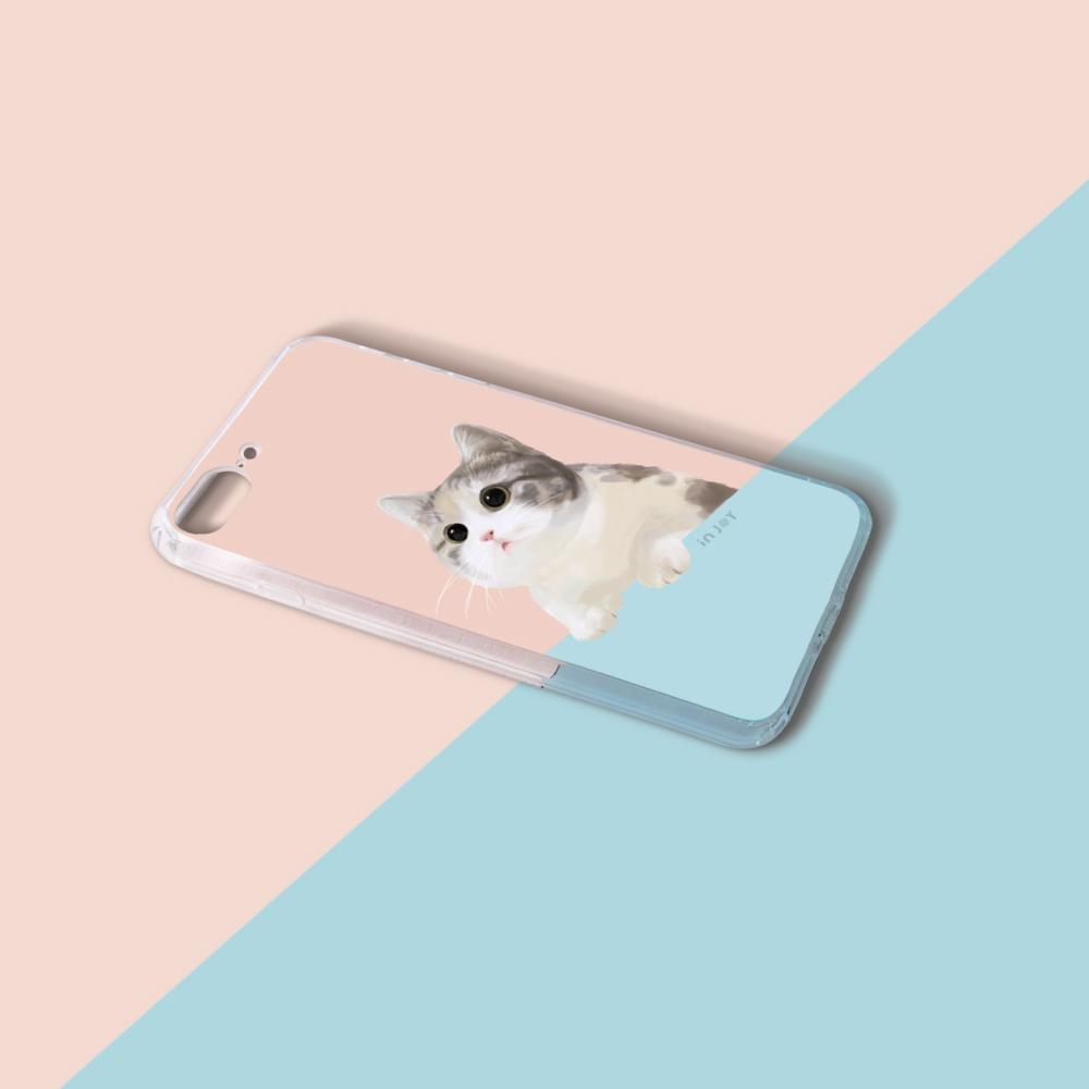 INJOY mall|iPhone6/7/8/Plus/X/XS/XR/max/11/11pro/11max 萌萌療癒喵星人透明耐衝擊防摔手機