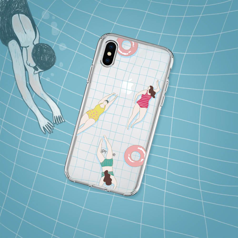 INJOY mall iPhone 6/7/8/Plus/X/XS/XR/max/11/11pro/11max 游泳時光透明耐衝擊防摔手機殼