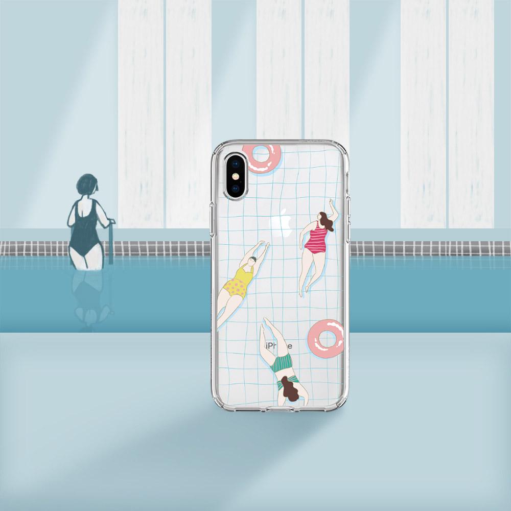 INJOY mall iPhone 6/7/8/Plus/X/XS/XR/max游泳時光透明耐衝擊防摔手機殼