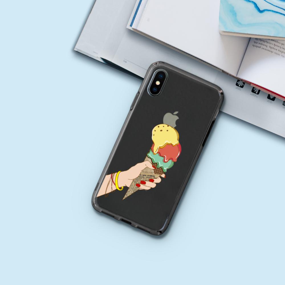 INJOY mall|iPhone 6 / 7 / 8 / Plus / X 系列 冰淇淋戀曲 透明耐衝擊防摔手機