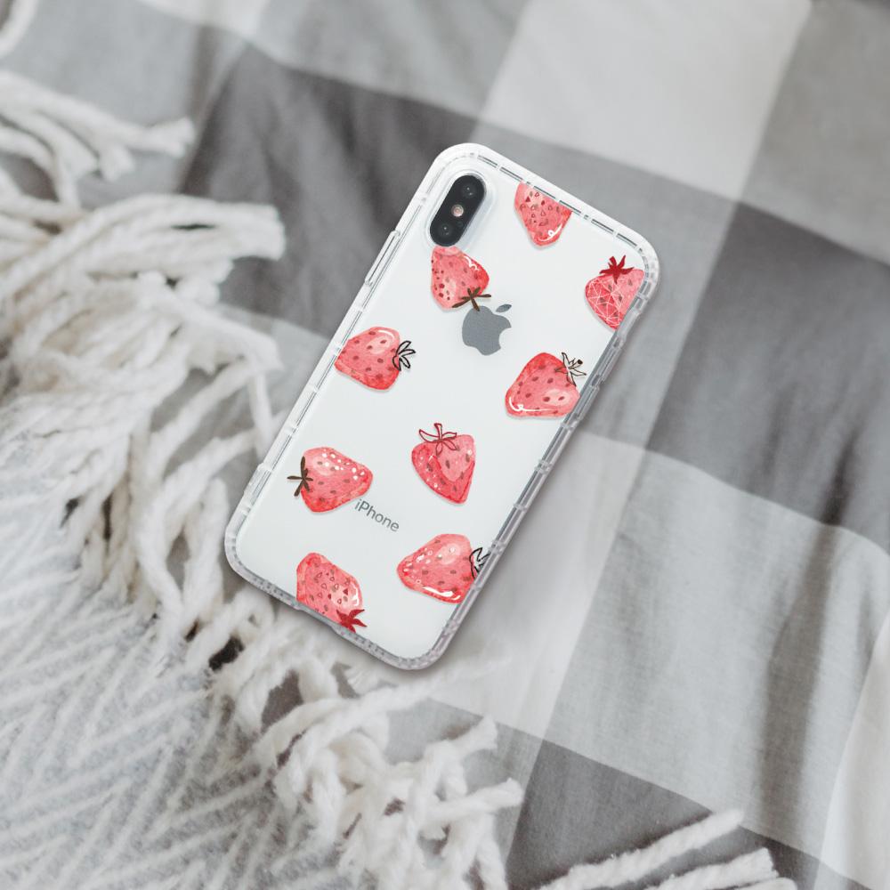 INJOY mall|iPhone 6/7/8/Plus/XS/XR/max/11/11pro/11max 插畫風草莓防摔耐震亮面手機殼