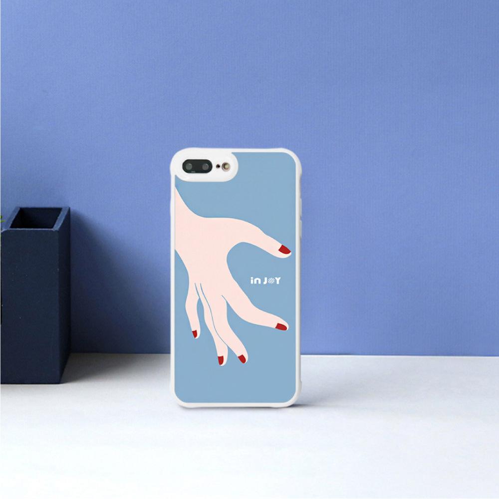 INJOY mall iPhone 7 / 8 / Plus / X 系列 愛的分不開藍色  耐撞擊邊框手機殼