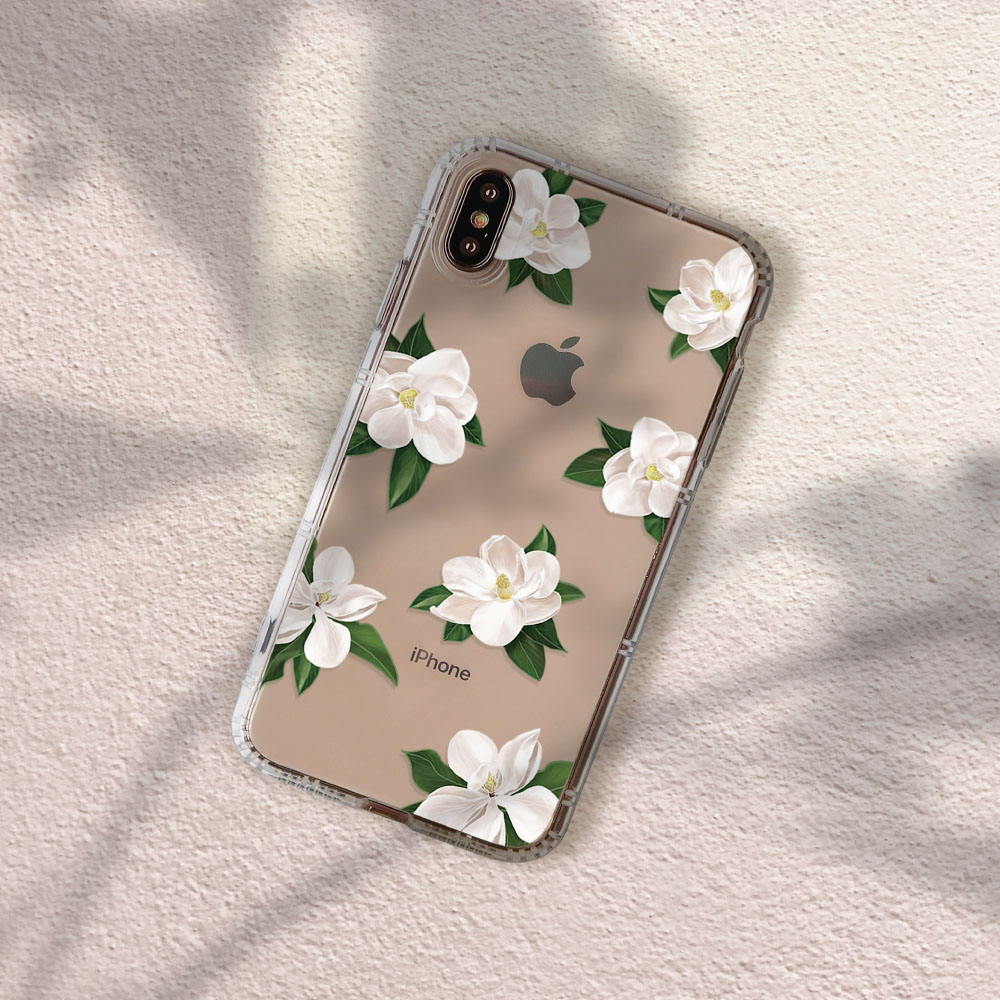 INJOY mall|iPhone 6/7/8/Plus/XS/XR/max柔白香氛花朵防摔耐震亮面手機殼