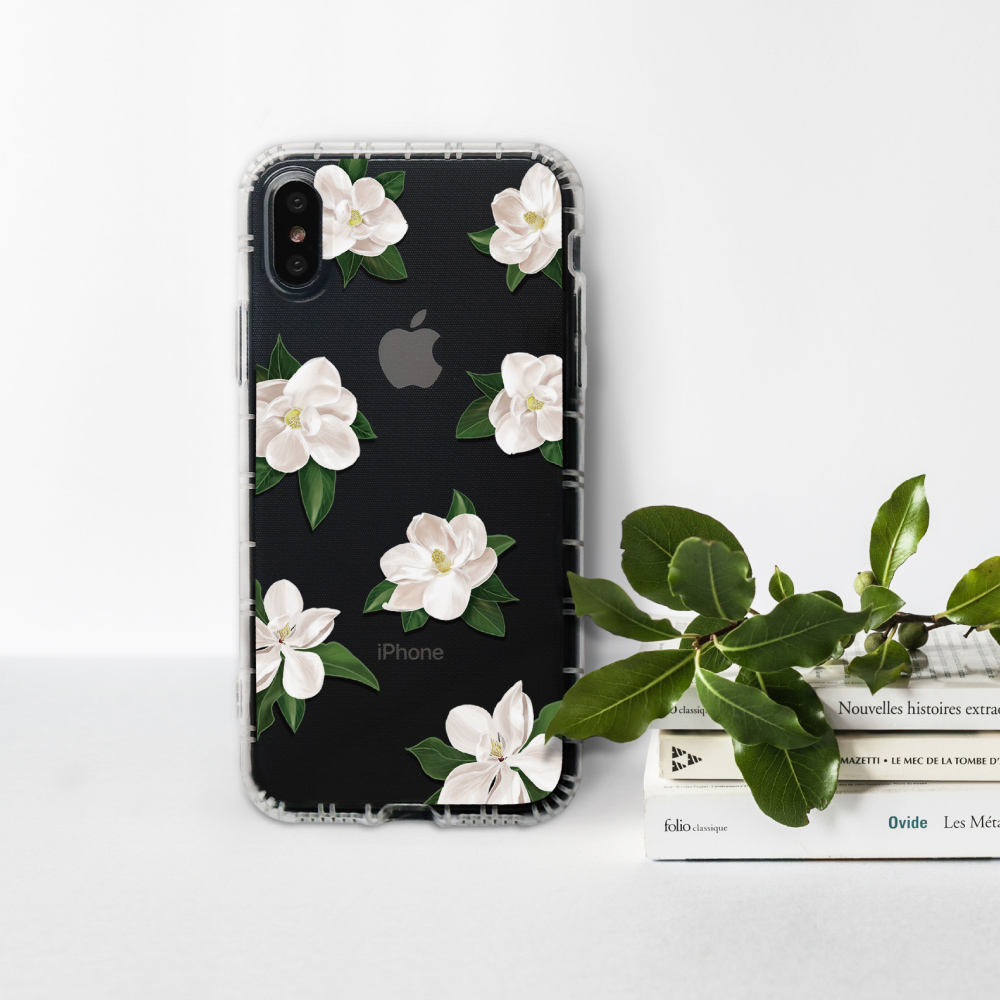 INJOY mall|iPhone 6/7/8/Plus/XS/XR/max/11/11pro/11max 柔白香氛花朵防摔耐震亮面手機殼