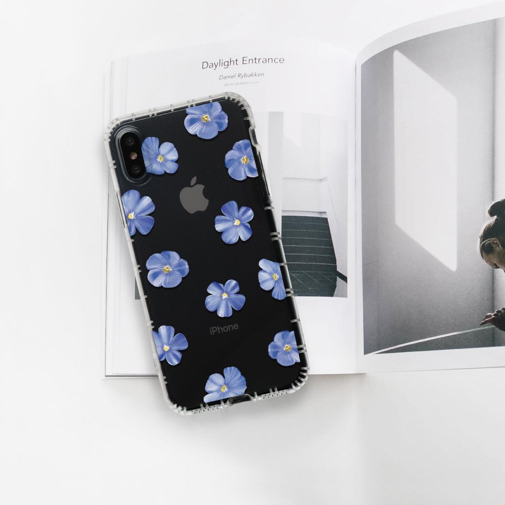 INJOY mall|iPhone 6/7/8/Plus/XS/XR/max/11/11pro/11max/SE2 清新藍色亞麻花防摔耐震亮面手機殼