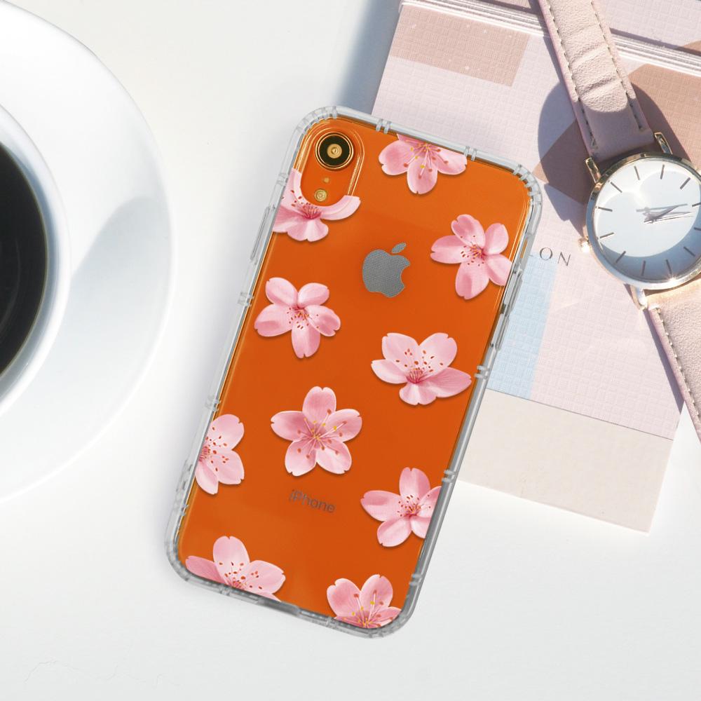 INJOY mall|iPhone 6/7/8/Plus/XS/XR/max浪漫櫻花氣息防摔耐震亮面手機殼