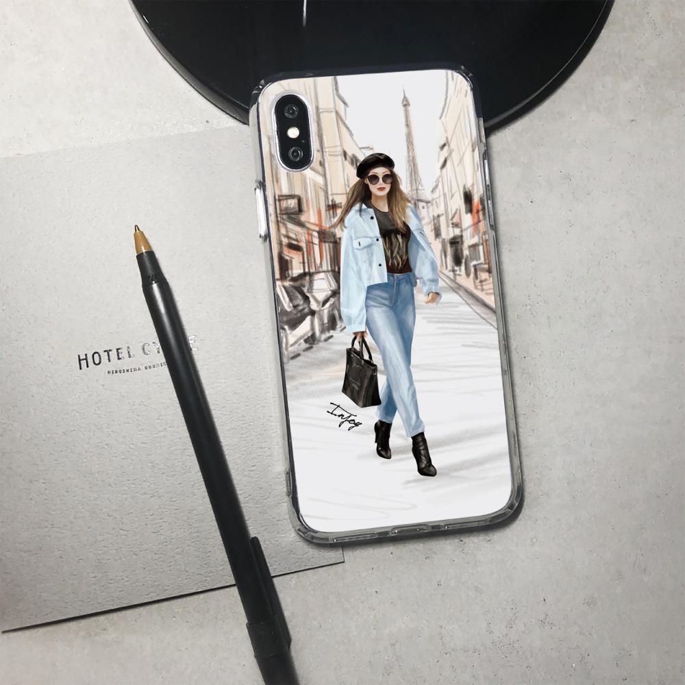 INJOY mall|iPhone 6/7/8/Plus/X/XS/XR/max/11/11pro/11max 巴黎女伶透明耐衝擊防摔手機殼