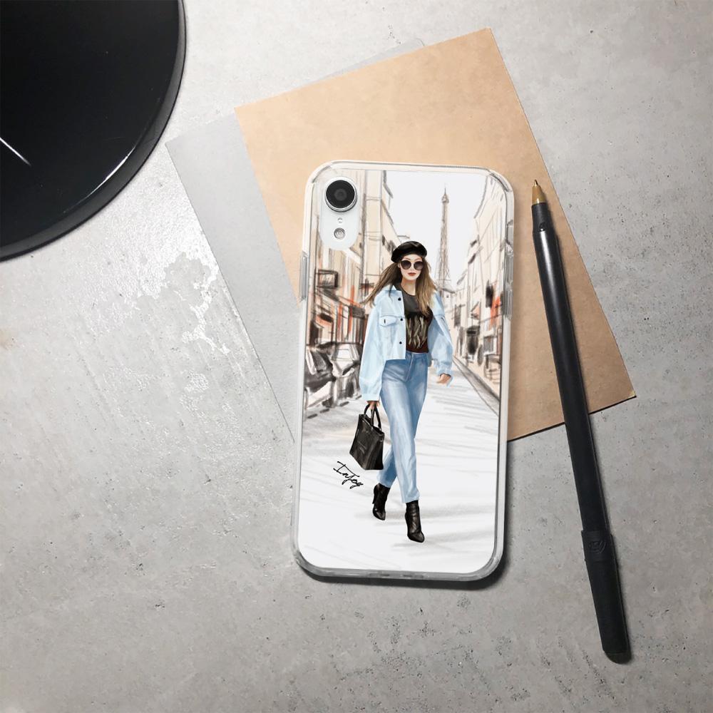 INJOY mall|iPhone 6/7/8/Plus/X/XS/XR/max 巴黎女伶透明耐衝擊防摔手機殼