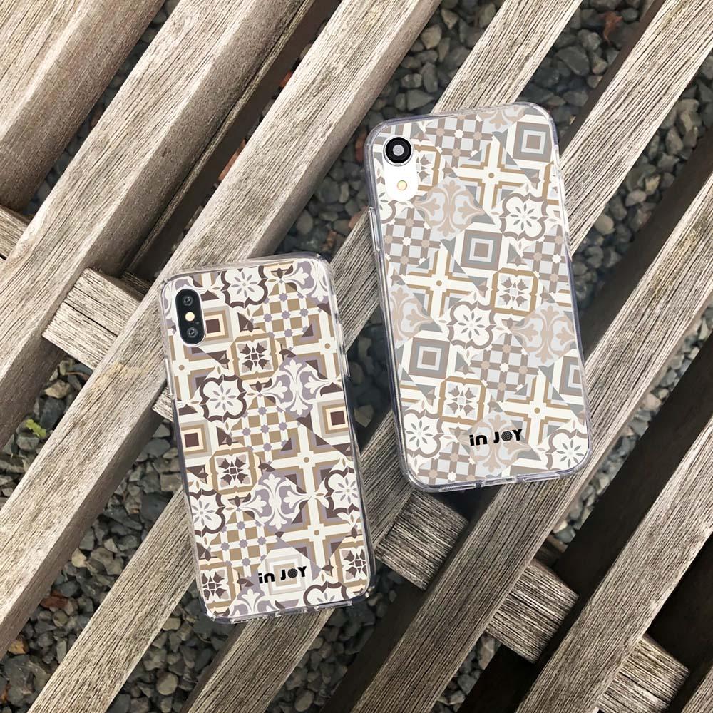 INJOY mall iPhone 6/7/8/Plus/X/XS/XR/max/11/11pro/11max 摩洛哥花磚透明耐衝擊防摔手機殼