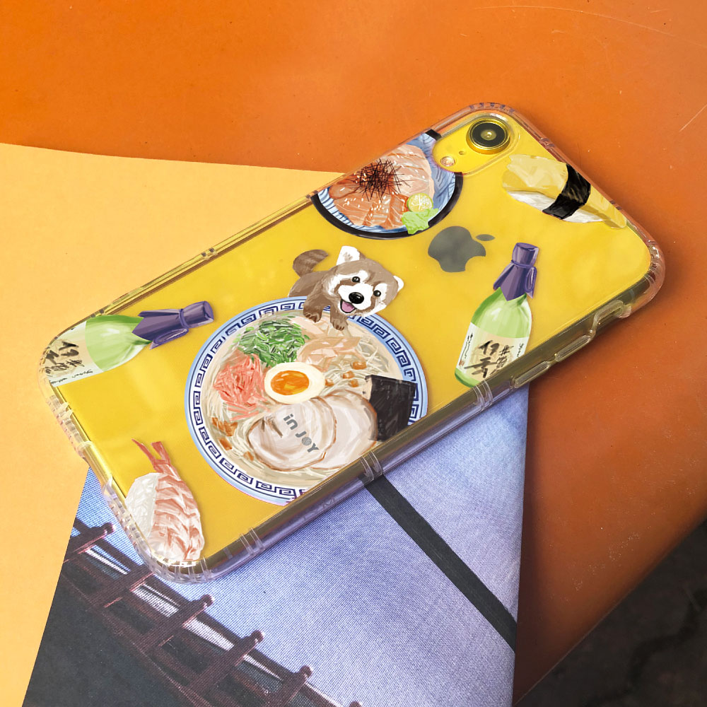 INJOY mall|iPhone 6/7/8/Plus/XS/XR/max/11/11pro/11max 小熊貓吃拉麵防摔耐震亮面手機殼