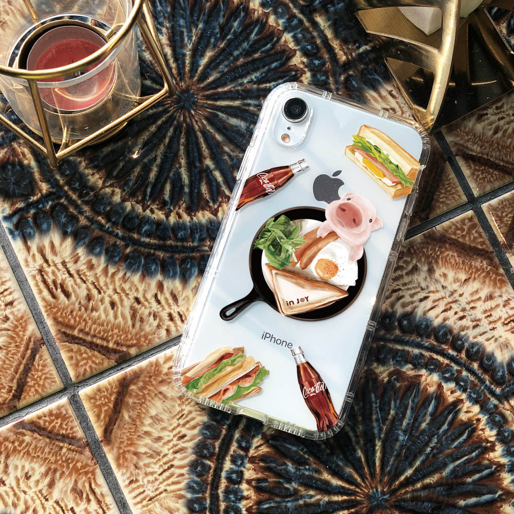 INJOY mall|iPhone 6/7/8/Plus/XS/XR/max/11/11pro/11max 早安豬瘋可樂防摔耐震亮面手機殼