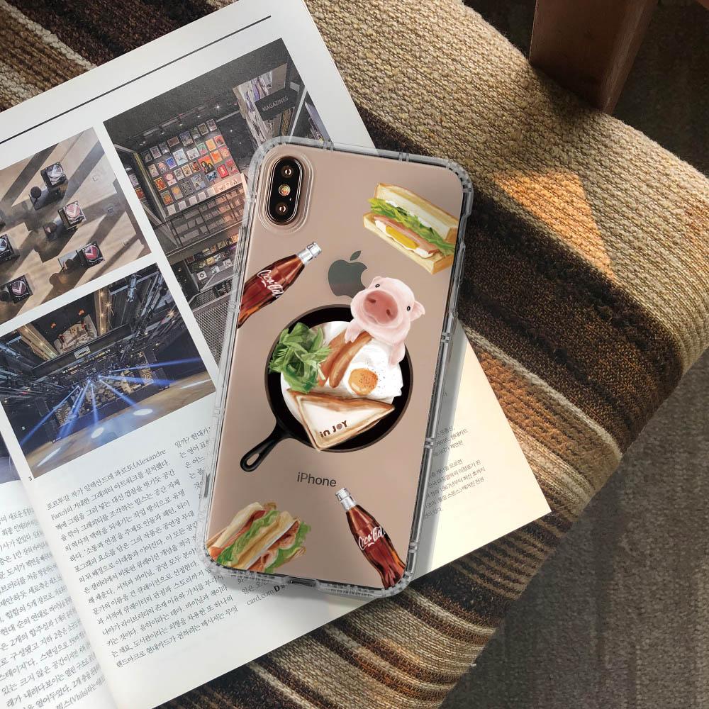 INJOY mall|iPhone 6/7/8/Plus/XS/XR/max早安豬瘋可樂防摔耐震亮面手機殼