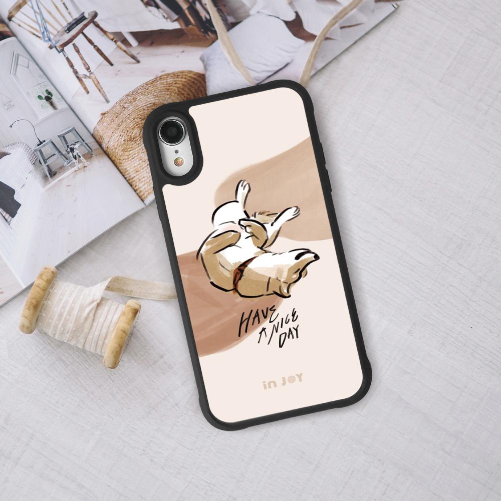 INJOY mall|iPhone 7/8/Plus/X/XS/XR/max/11 pro/11 max 耍萌柴犬 耐撞擊磨砂邊框手機殼