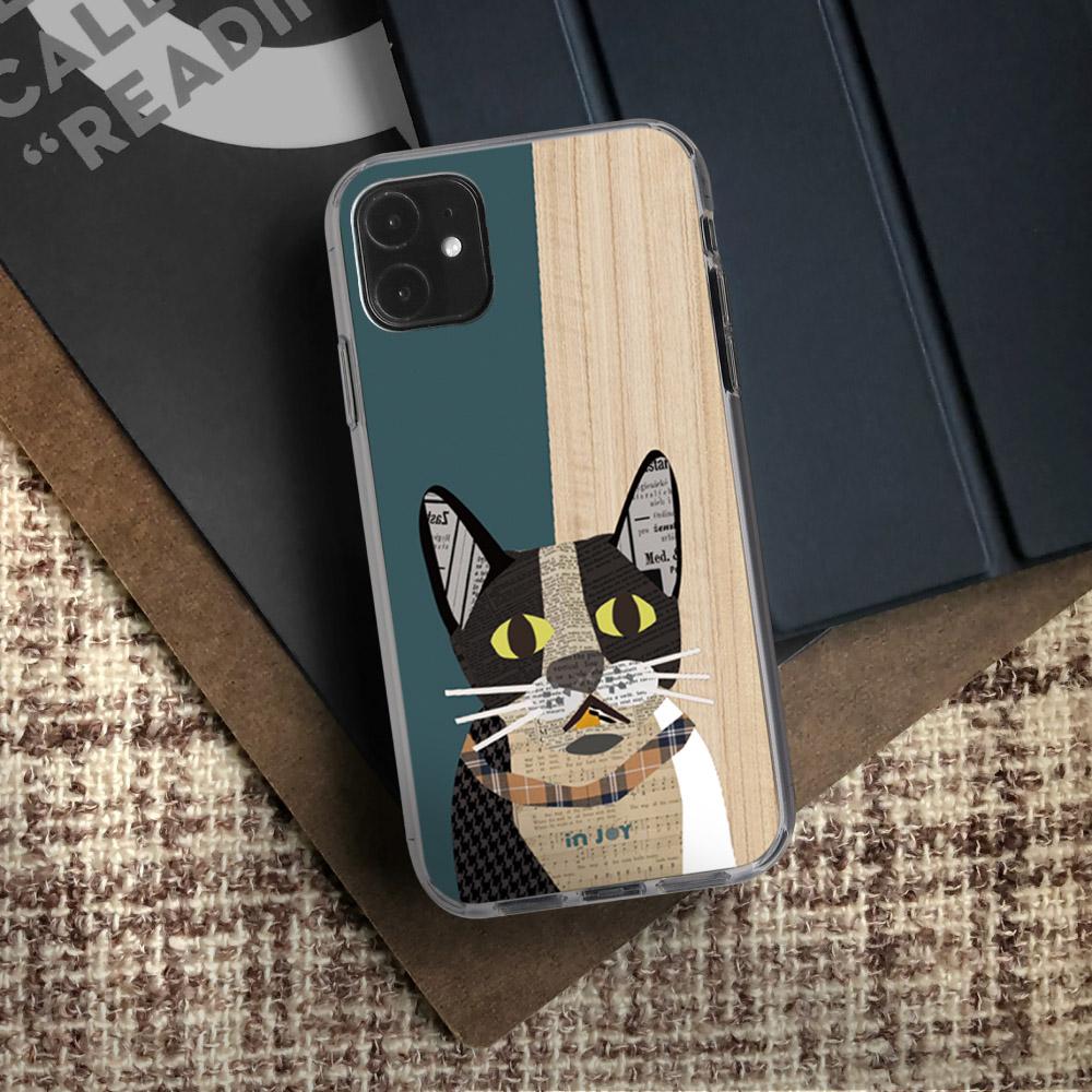 INJOY mall|iPhone 6/7/8/Plus/X/XS/XR/max 格紋拼貼賓士貓 透明耐衝擊防摔手機殼