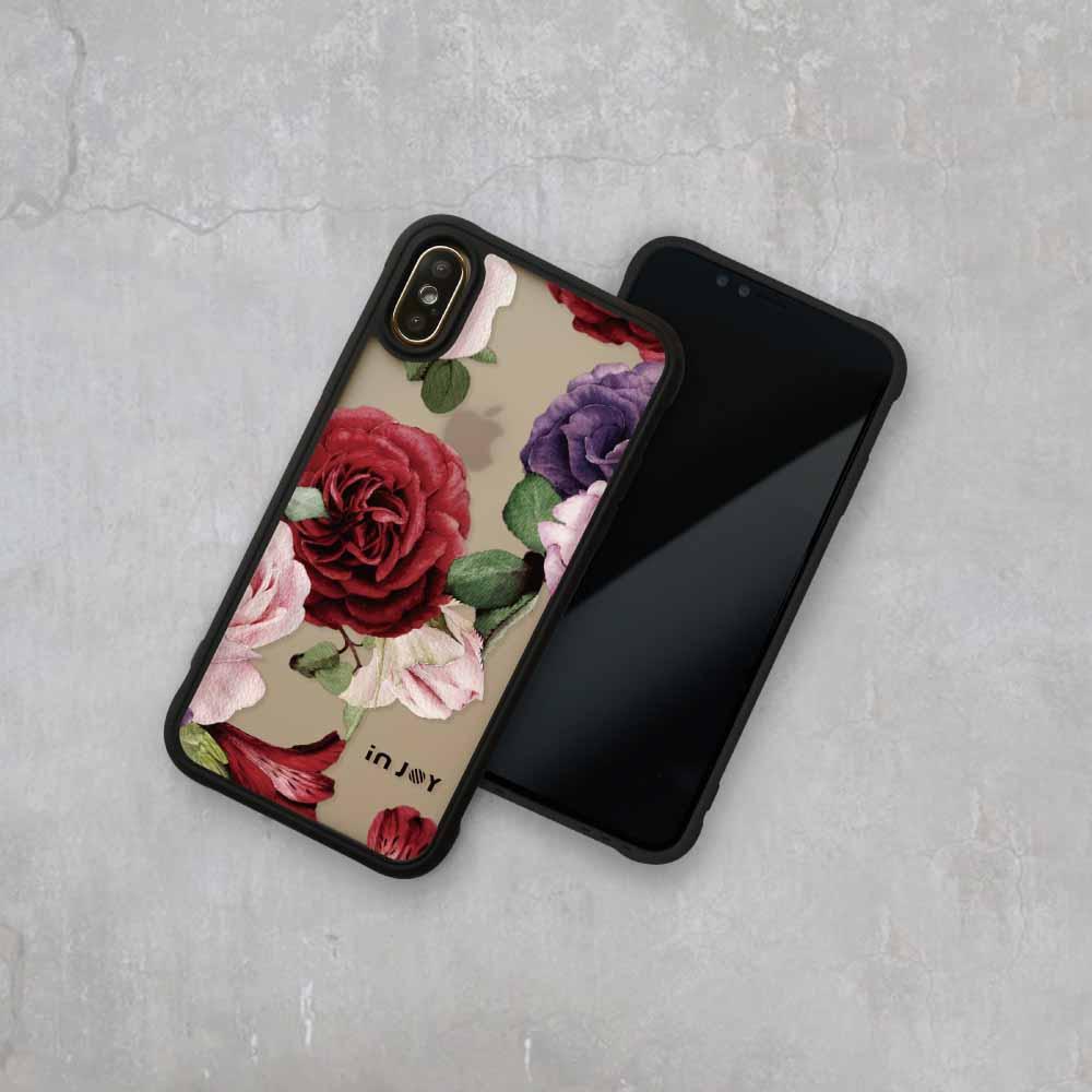 INJOY mall|iPhone 7/8/Plus/X/XS/XR/max/11/11pro/11max 質感玫瑰耐撞擊磨砂邊框手機殼