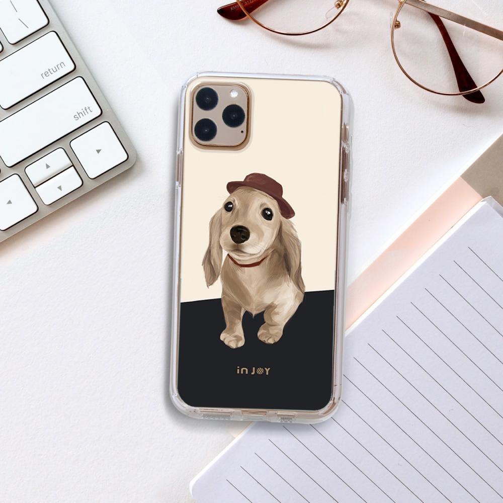 INJOY mall|iPhone 6/7/8/Plus/X/XS/XR/max/11 pro/11 max 奶油臘腸犬 透明耐衝擊防摔 手機殼