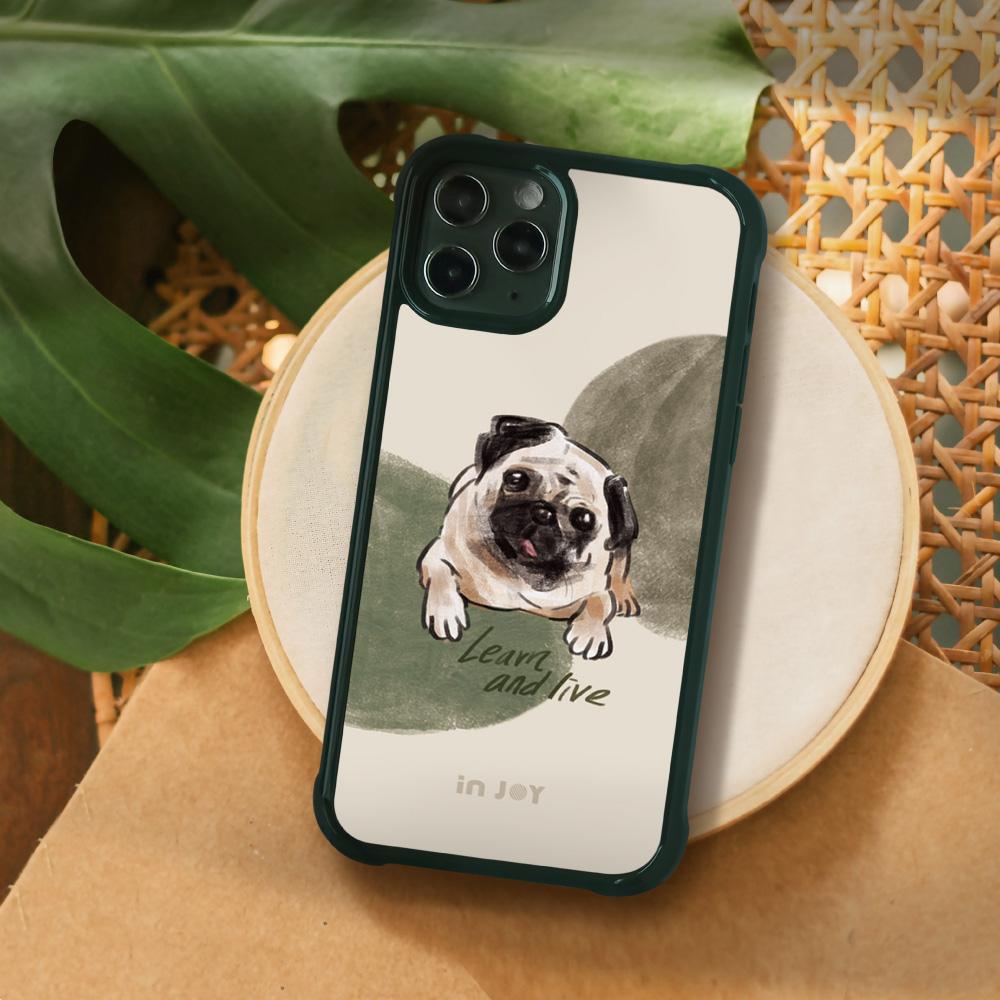 INJOY mall|iPhone 7/8/Plus/X/XS/XR/max/11 pro/11 max 好好生活巴哥犬 耐撞擊磨砂邊框手機殼