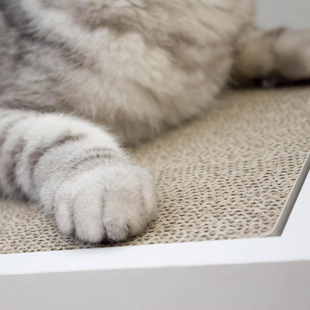 安閣家|頑強斜坡貓抓板-贈送純天然貓薄荷 (清新白)