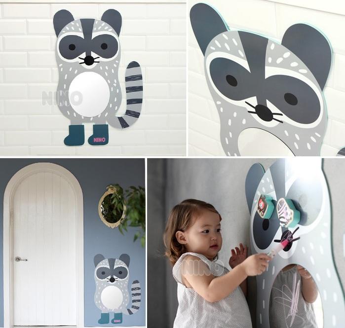 韓國NINO 兒童彩繪壁貼鏡-淘氣小浣熊