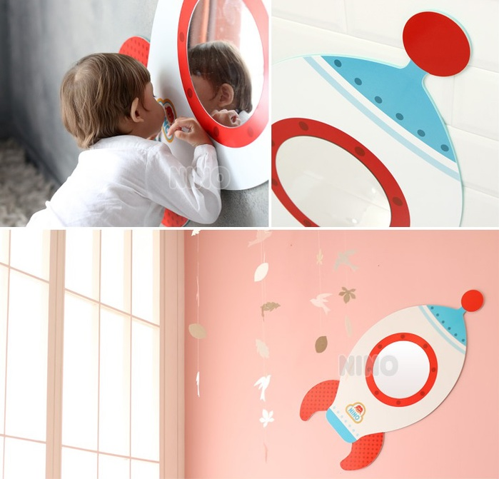 韓國NINO|兒童彩繪壁貼鏡-太空飛行箭
