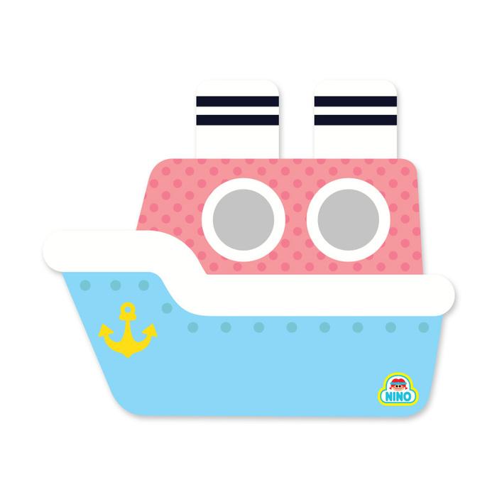 韓國NINO|兒童彩繪壁貼鏡-嘟嘟蒸汽船-粉紅色