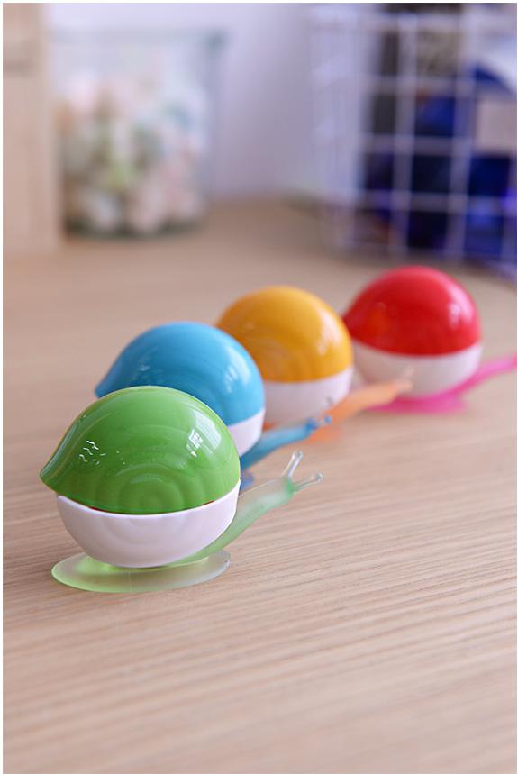 韓國炫彩蝸牛牙刷架4入組(紅,黃,藍,綠四色)