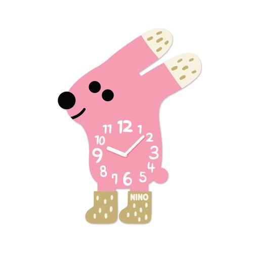 韓國NINO HapPy TimE童趣時鐘-穿襪襪的兔兔(粉)
