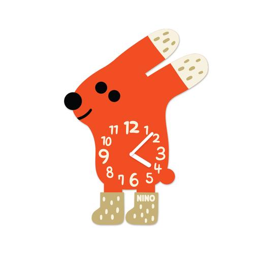 韓國NINO|HapPy TimE童趣時鐘-穿襪襪的兔兔(紅)