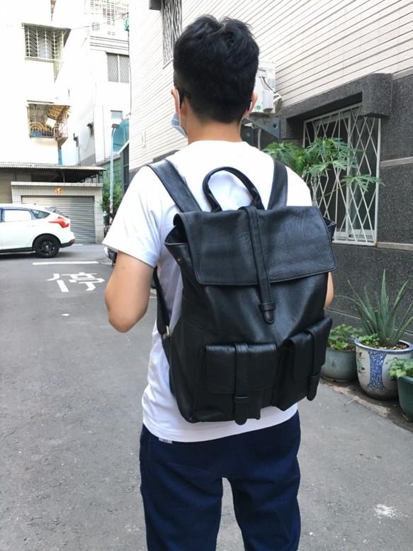 SoLoMon|靜靜手工皮革提把後背包 (黑)