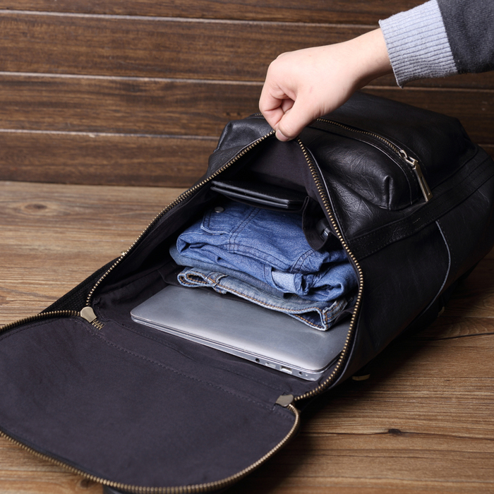 (複製)SoLoMon|靜靜手工皮革提把後背包 (黑)